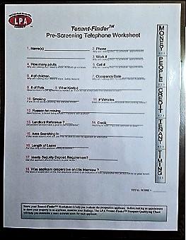 Tenant Finder Worksheet