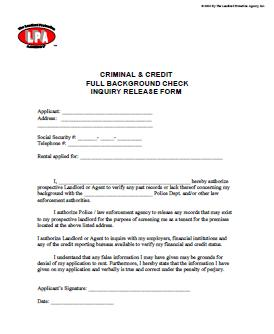 Criminal Background Check Release form at Essential landlord rental forms page with Apartment Lease rental agreement, rental application, eviction notices, lease form, lease purchase option, furnished lease, apartment lease, pay rent or quit, notice to vacate, notice to terminate tenancy