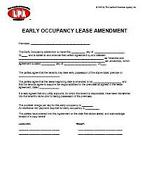 Early Occupancy Agreement Lease Addendum