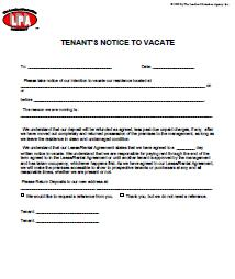 Tenant 39 s notice of intention to vacate for Giving notice to landlord template