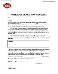 notice of non renewal of