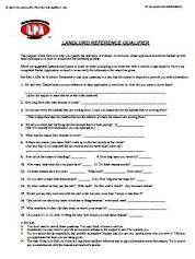 Landlord Reference Qualifier for at Essential landlord rental forms page with Apartment Lease rental agreement, rental application, eviction notices, lease form, lease purchase option, furnished lease, apartment lease, pay rent or quit, notice to vacate, notice to terminate tenancy