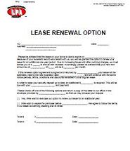 The Lease Renewal or lease