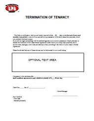 Termination of Tenancy Notice - Eviction Notice at Essential landlord rental forms page with Apartment Lease rental agreement, rental application, notices, lease form, lease purchase option, furnished lease, apartment lease, pay rent or quit, notice to vacate