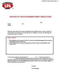 Unauthorized Rent Deduction Notice to Tenant at Essential landlord rental forms page with Apartment Lease rental agreement, rental application, eviction notices, lease form, lease purchase option, furnished lease, apartment lease, pay rent or quit, notice to vacate, notice to terminate tenancy