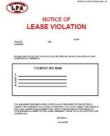 Notice Of Lease Violation